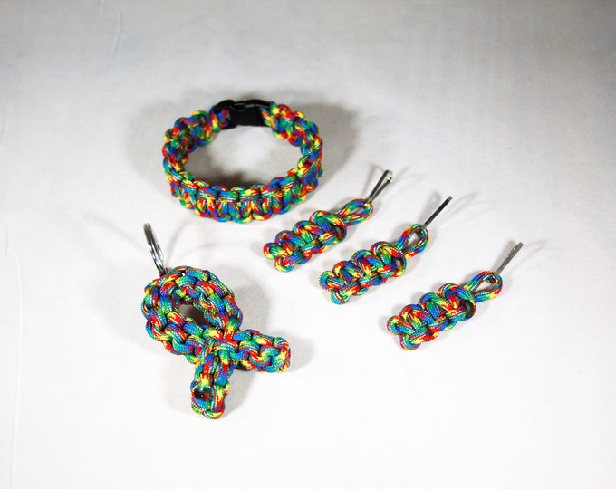 Think Autism!! Autism Awareness Puzzle Paracord Bracelet, Ribbon Keychain, and Zipper Pulls (3 Pack), Yellow, Blue, Red, Green, Multicolor