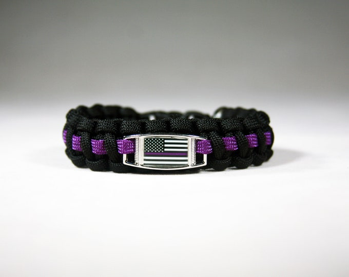 Purple Line American Flag Paracord Charm Bracelet, American Flag with Purple Line, Security, Private Security, Security Guard