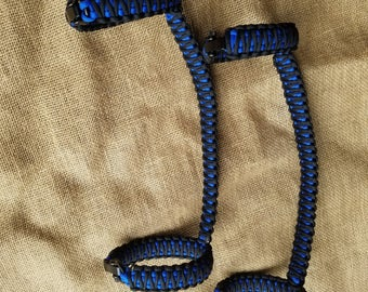 Jeep Roll Bar Grab Handles with Adjustable Shackles, SET OF 2, Roll Cage Grab Handles, Black and Royal Blue, Paracord Grab Handles