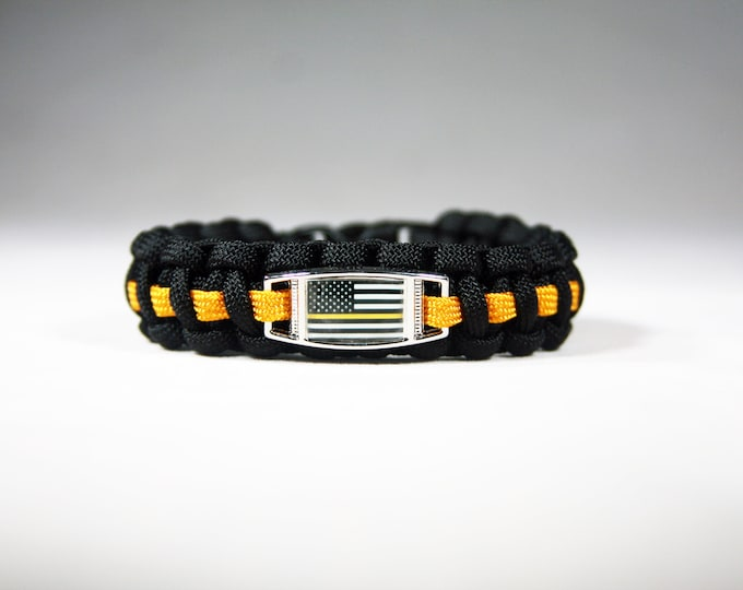 Gold Line American Flag Paracord Charm Bracelet, American Flag with Gold Line, Dispatchers, Heard But Not Seen, Yellow Line