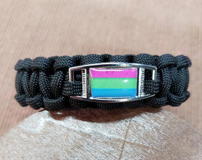 Polysexual Pride Flag Paracord Charm Bracelet, Polysexual, Poly, Pride, Flag Bracelet