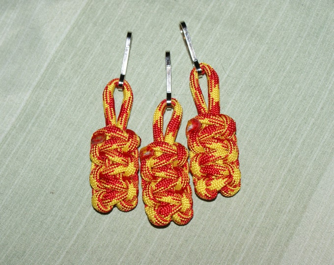 Red and Yellow Paracord Zipper Pulls (Available in packs of 3 or 4), US Marines, USMC