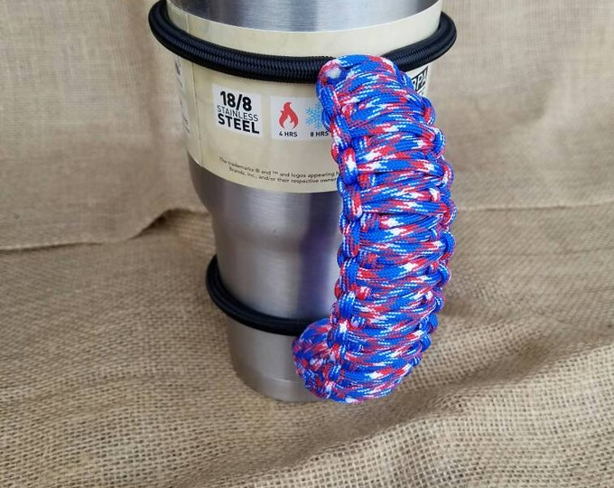 Handcrafted Paracord Tumbler Handle, Red, White  and Blue, America, USA, Chicago Cubs, NY Giants, Mug, Yeti, Ozark Trail, Rtic, Mossy Oak
