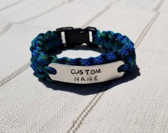 Personalized Metal Stamp Paracord Bracelet, Hand-stamped Metal Plate, Custom Personalization. Name or Message