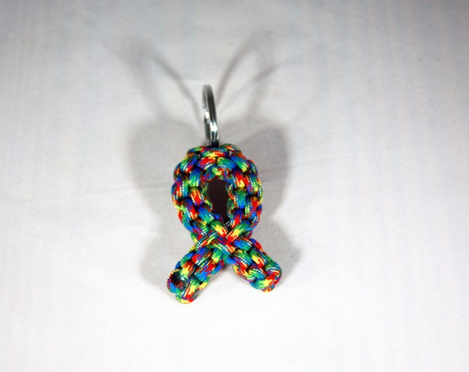 Autism Puzzle Awareness Ribbon Paracord Keychain