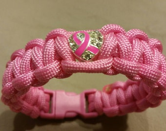 Pink Paracord Breast Cancer Awareness Bracelet, Breast Cancer, Heart With Pink Ribbon Charm