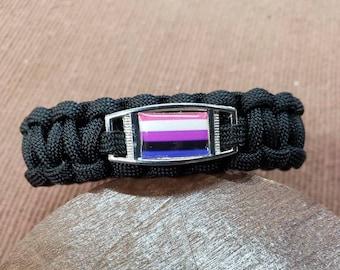 Genderfluid Pride Flag Paracord Charm Bracelet, Genderfluid, Pride, Flag Bracelet