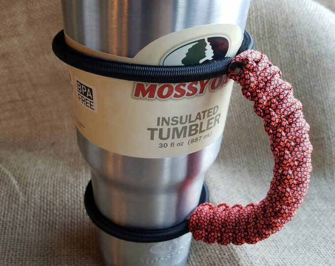 Handcrafted Paracord Tumbler Handle, Orange and Black, Oklahoma State University, SF Giants, Baltimore Orioles, Yeti, Rtic, Mossy Oak