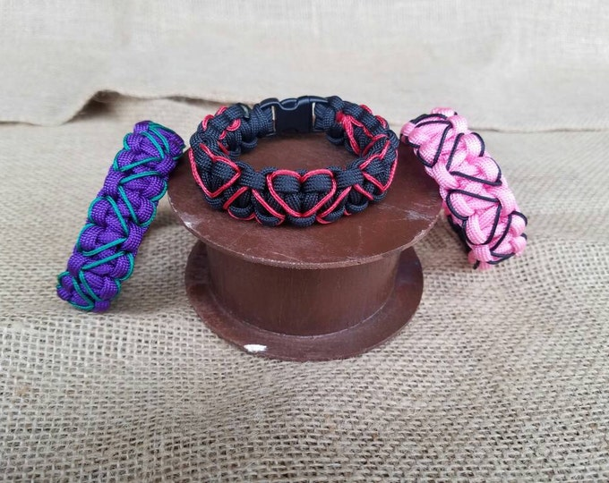Heart Stitched Paracord Bracelet, Hand-Stitched, Multiple Color Options Available, Hearts, Love, Valentine's Day, Wedding, Anniversary