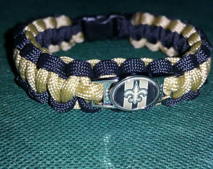 New Orleans Saints Paracord Bracelet with Saints Charm