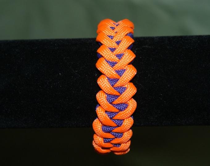 Clemson University Inspired, Orange and Purple Shark's Jaw Paracord Bracelet