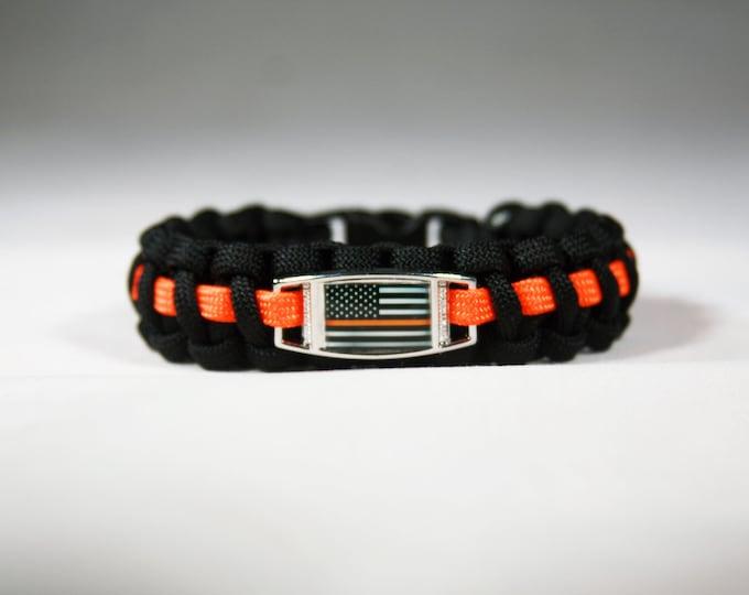 Orange Line American Flag Paracord Charm Bracelet, American Flag with Orange Line, Search and Rescue, Coast Guard, Dive Team