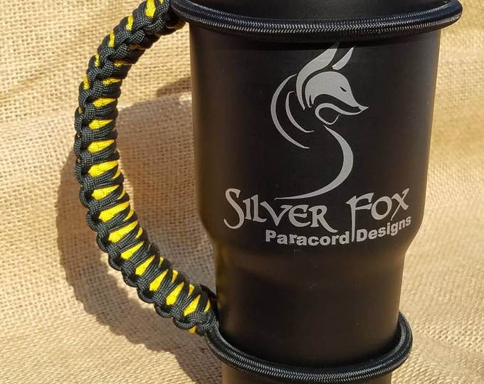 Handcrafted Paracord Tumbler Handle, Black and Yellow, Pittsburgh Steelers, Pirates, Penguins, Mug, Yeti, Ozark Trail, Rtic, Mossy Oak