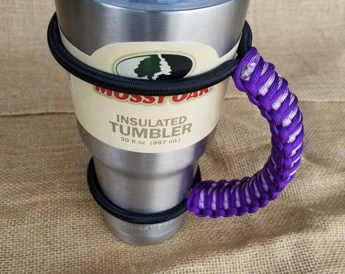 Handcrafted Paracord Tumbler Handle, Shades of Purple, Acid Purple and Lavender, Mug, Yeti, Ozark Trail, Rtic, Mossy Oak