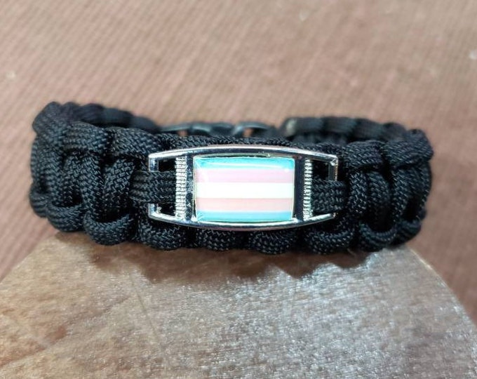 Transgender Pride Flag Paracord Charm Bracelet, Transgender, Trans, Pride, Flag Bracelet