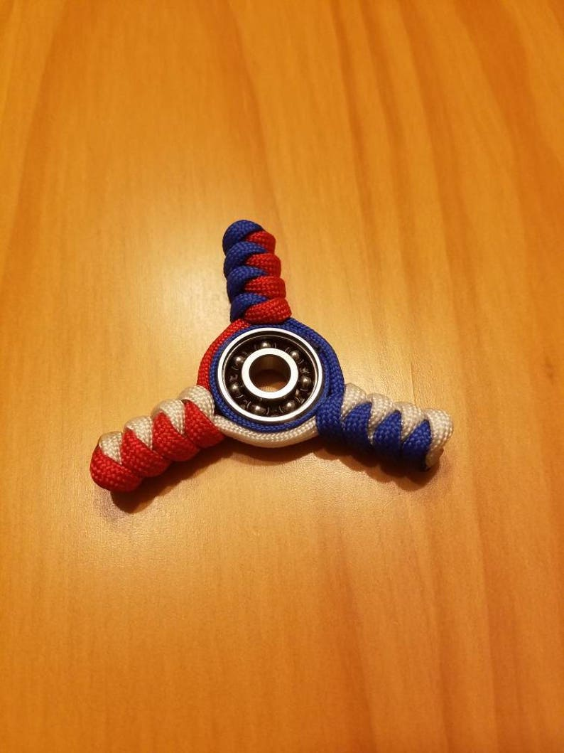 Paracord Fidget Spinner, Red, White and Blue, USA, France, UK, Toy,  Relaxing and Calming Uses