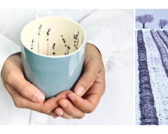Handmade Ceramic Mug.Porcelain Tea Cup.White & blue.Romantic Gift.Ceramic Coffee Mug.Stoneware Tumbler Design by CONCEPTstudio.READY TO SHIP