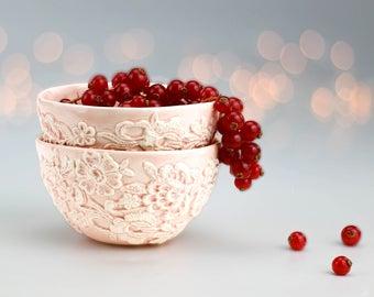 Porcelain Lace Bowl. Pink Ceramic Bowl. Ice Cream Bowl. Elegant Lace Tea Bowl. Ceramic Soup Bowl. Small Wedding Dainty Serving Fruit Bowl.