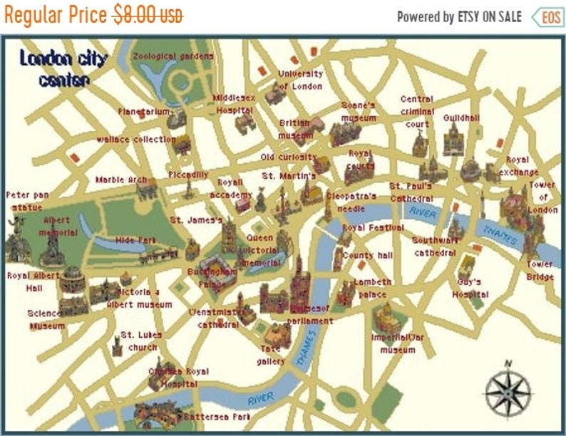 Easy London Map.Map Of London City Counted Cross Stitch Map Of London Map Easy Cross Stitch Needlepoint Kreuzstitch 32 07 X 22 79 L997
