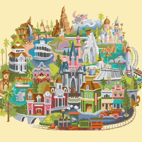 Disneyland map cross sch Disneyland map pattern needlepoint needlecraft on disneyland minecraft download, disney world map download, disneyland california,