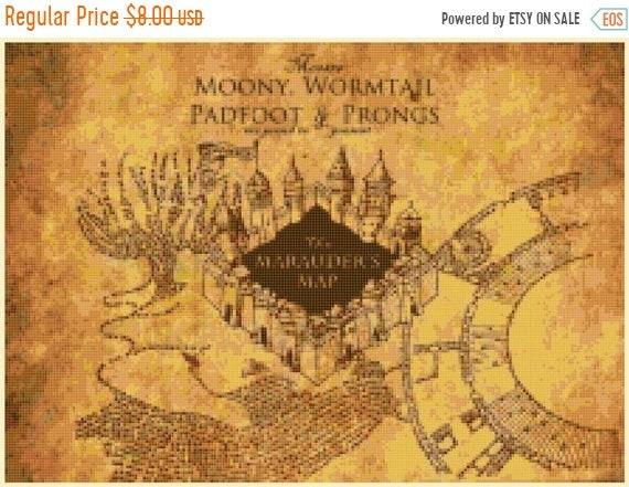 marauder map Counted Cross Stitch Harry Potter Pattern modern cross stitch,  needlepoint - 15.71\