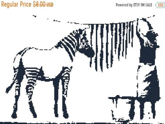 banksy zebra Counted Cross Stitch banksy Pattern modern cross stitch banksy  needlepoint street art - 17 43 x 11 57