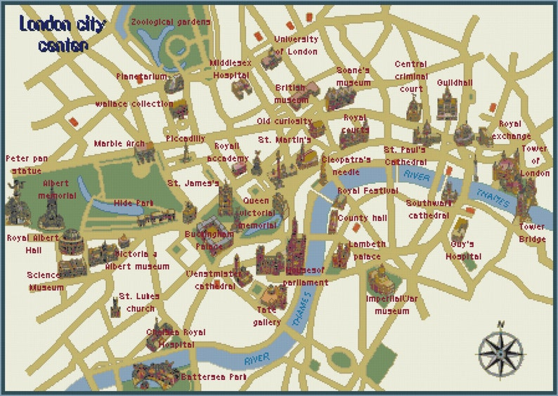 Easy London Map.Map Of London City Counted Cross Stitch Map Of London Map Easy Etsy