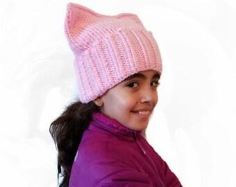 PussyHat Pink Kids Hat Cat Girls Pussy Project PussyCat Winter Warm Womens March Ear