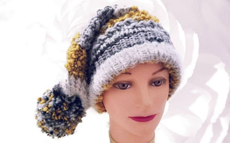 fc33f4f9a Knit Hat, Yellow, Gold, Gray, White, Black, Colorful Hat, Pom Pom Slouchy,  Beanie, Winter Fashion, Chunky Hat, Handmade Knitting Fashion