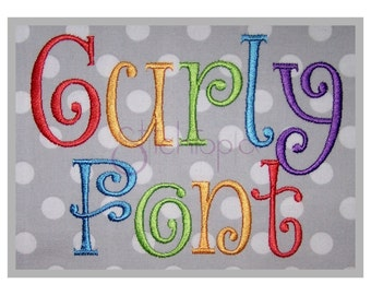 """Curly Embroidery Font Set .5"""" 1"""" 1.5"""" 2"""" 2.5"""" 3"""" - 6 Sizes 11 Formats DST PES BX - Curlz Embroidery Font for Kids - Instant Download Files"""