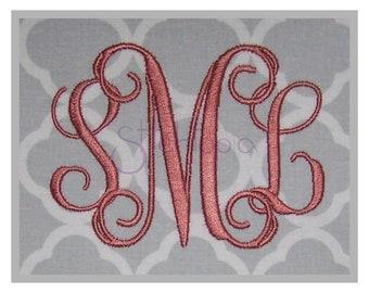 """Interlocking Vine Embroidery Monogram Set 1″ 1.5"""" 2″ 2.5"""" 3″ - 11 Formats Machine Embroidery Fonts Script Monogram Fonts - Instant Download"""