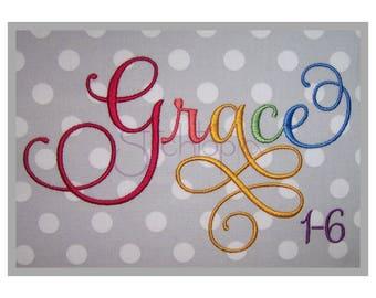 """Grace 1-6 Bundle Complete Set - 1"""" 1.5"""" 2"""" 2.5"""" 3"""" 4""""- Machine Embroidery Fonts Grace Script Embroidery Font Instant Download 11 Formats"""