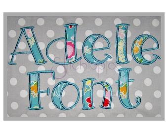 """Adele Applique Font 2.5"""" 3"""" 3.5"""" 4"""" - 11 Formats bx dst exp hus jef pes sew shv vip vp3 xxx Machine Applique Fonts for Kids Instant Download"""