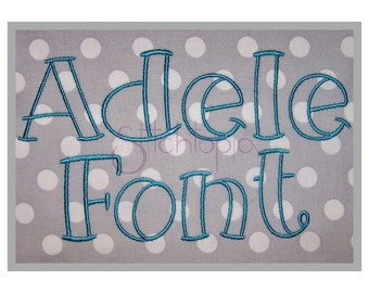 """Adele Embroidery Font 1"""" 1.5"""" 2"""" 2.5"""" 3"""" - 11 Formats bx dst exp hus jef pes sew shv vip vp3 xxx Machine Embroidery Fonts - Instant Download"""