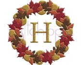 Fall Leaves Wreath Embroidery Frame - 5 Sizes 10 Formats PES DST EXP Digital Machine Embroidery Design Frame - Instant Download Files