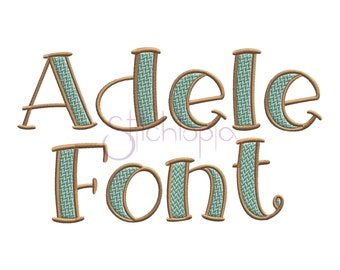 """Adele Filled Embroidery Font 1"""" 1.5"""" 2"""" 2.5"""" 3"""" - 11 Formats 5 Sizes Machine Embroidery Monogram Fonts - Instant Download Files"""