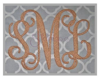 "Interlocking Vine Embroidery Monogram Font 6"" 6.5"" 7"" 7.5"" 8""- 11 Formats Script Machine Embroidery Monogram Fonts - Instant Download Files"