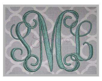 """Interlocking Vine Embroidery Monogram 3.5"""" 4"""" 4.5"""" 5"""" 5.5""""- Machine Embroidery Fonts Embroidery Monogram Fonts 11 Formats Instant Download"""