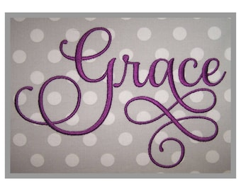 """Grace Embroidery Font #6 - 1"""" 1.5"""" 2"""" 2.5"""" 3"""" 4"""" - 11 Formats Machine Embroidery Fonts Script Embroidery Fonts - Instant Download Files"""