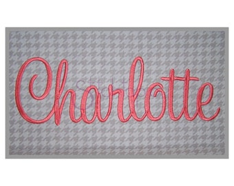 """Charlotte Embroidery Font Set - 1"""" 1.5"""" 2"""" 2.5"""" 3"""" - Sweetheart Machine Embroidery Alphabet Font BX PES DST 11 Formats - Instant Download"""