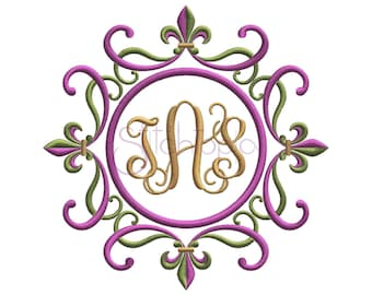 Fleur de Lis Swirly Round Embroidery Frame  - 6 Sizes 10 Formats Mardi Gras Machine Embroidery Design Frame - Instant Download Files