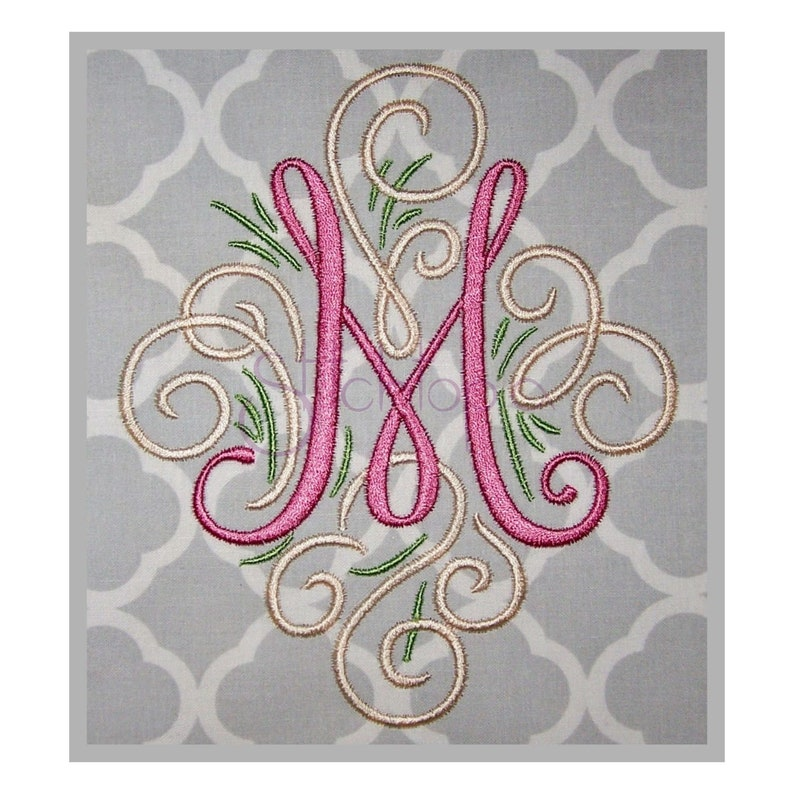 Adorn Monogram Set  5 6  Machine Embroidery Fonts  Script image 0