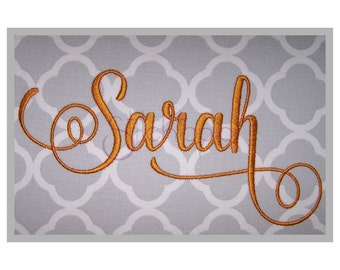 "Sarah Embroidery Font #2 - 1"" 1.5"" 2"" 2.5"" 3"" Formats: bx dst exp hus jef pes sew shv vip vp3 xxx Script Embroidery Font - Instant Download"