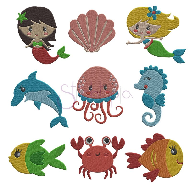 9 Sizes each 81 designs 10 Formats PES DST JEF Beach Machine Embroidery Designs  Instant Download Files Under the Sea Complete Set Bundle