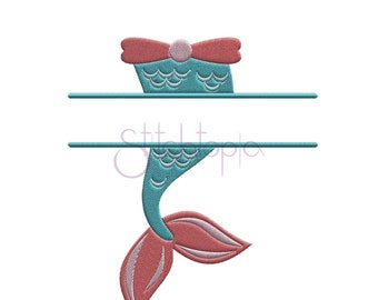 Mermaid Split Embroidery Frame - 6 Sizes 10 Formats Beach Machine Embroidery Designs Summer Embroidery Designs - Instant Download Files