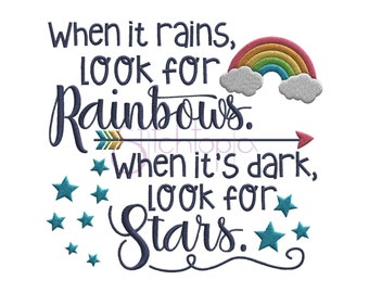 When It Rains Look For Rainbows Embroidery Design - 6 Sizes 10 Formats Machine Embroidery Design Rainbow Embroidery Design Instant Download