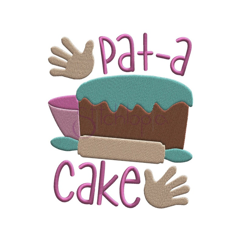 Nursery Rhymes Pat A Cake Embroidery Design - 6 Sizes 10 Formats PES DST  VIP Song Machine Embroidery Designs - Instant Download Files