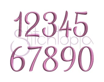 Hailey Numbers Set – 3 sizes - - Digital Machine Embroidery Files - Fancy Script