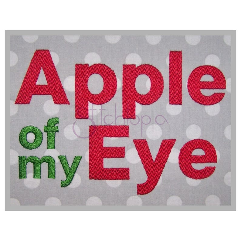 Apple of My Eye BOLD Embroidery Font –  5″ 1″ 1 5″ 2″ 2 5″ 3″ 11 Formats  Machine Embroidery Fonts Block Embroidery Font - Instant