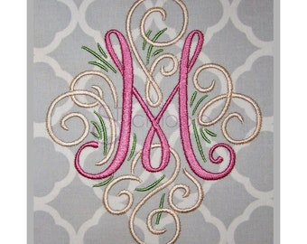 Adorn Embroidery Monogram Set 3″ 4″ - A-Z Swirly Machine Embroidery Monogram Font Designs PES BX Fonts 11 Formats - Instant Download Files